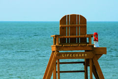 Lifeguard Stand 3. Lifeguard stand, from the back, on the beach at Lake Erie stock photography