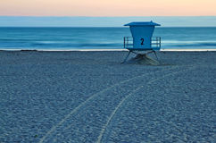 Lifeguard Stand on Beach at Sunset in California Royalty Free Stock Photography