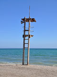 Lifeguard stand on Mediterranean beach Royalty Free Stock Photos