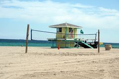 Lifeguard stand on Dania Beach, in Fort Lauderdale, Florida Stock Photos
