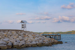 Lifeguard stand on seacoast skyline. Natural landscape background royalty free stock photography