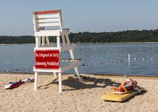 Lifeguard stand with sign prohibiting swimming. A white lifeguard stand with a red sign on the back that reads, No lifeguard on duty swimming prohibited royalty free stock photography