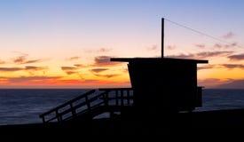 Lifeguard Stand Silhouette at Zuma Beach Stock Photos