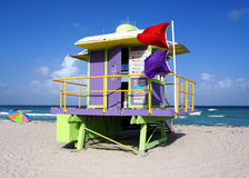 Lifeguard Stand In South Beach Miami. Lifeguard Stand on South Beach Miami, Florida Stock Image