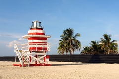 Lifeguard Stand In South Beach Miami Stock Photos