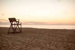 Lifeguard stand at sunrise Stock Images