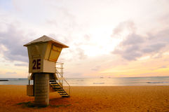 Lifeguard Stand at sunset Royalty Free Stock Image