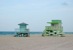 Lifeguard stands. Colorful lifeguard stands at Sunny Isles Beach, Florida Stock Photography