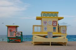 Lifeguard stands. Colorful lifeguard stands at Sunny Isles Beach, Florida Royalty Free Stock Photos