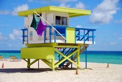 Lifeguard station. Colorful lifeguard station on Miami Beach, Florida stock photos
