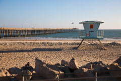 Lifeguard station. On the beach in Southern California stock photography