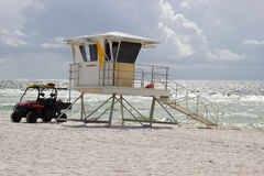 Lifeguard Station. Being manned with yellow Caution flag flying at Pensacola Beach, Florida Stock Photography