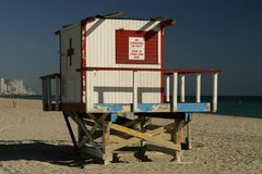 Lifeguard Station. Close-up view of a lifeguard station on Miami Beach. Sign says No Lifeguard On Duty: Swim At Your Own Risk royalty free stock photos