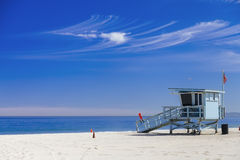 Lifeguard station with american flag on Hermosa beach, instagram Stock Photos