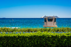 Lifeguard station and the Atlantic Ocean in Palm Beach, Florida. Royalty Free Stock Images