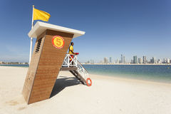 Lifeguard station at the beach in Dubai Stock Photo