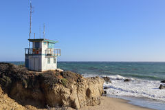 Lifeguard station at the beach. Lifeguard station at Leo Carrillo State Beach, Malibu California Royalty Free Stock Photo