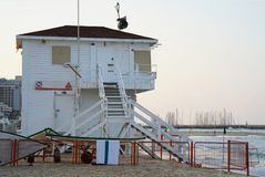 Lifeguard towers at sea Stock Images