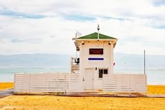 Lifeguard station on the beach over Dead Sea. Ein Bokek, Israel royalty free stock photos