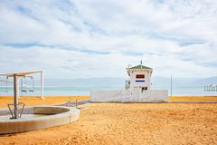 Lifeguard station on the beach over Dead Sea. Ein Bokek, Israel stock images