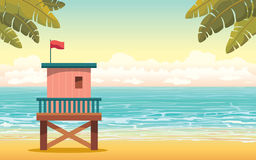 Lifeguard station and beach. Summer landscape. Stock Image