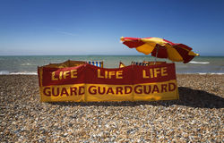 Lifeguard station on the beach sunny weather Stock Images
