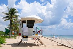 Lifeguard station on beach Stock Photo