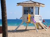 Lifeguard station on beach Royalty Free Stock Image