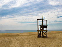 Lifeguard Station on a Cape Cod beach. An empty lifeguard station awaits beach goers on Nauset Beach, MA, on Cape Cod Stock Images