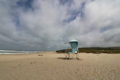 Lifeguard Station on an empty beach, California Coast royalty free stock images