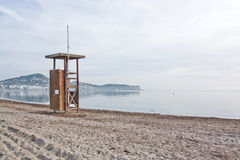 Lifeguard station on empty beach. On a sunny winter morning in December in Ibiza, Balearic islands, Spain Stock Photography