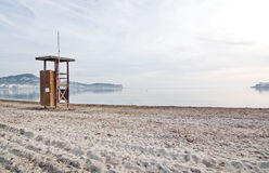 Lifeguard station on empty beach. On a sunny winter morning in December in Ibiza, Balearic islands, Spain Stock Photos