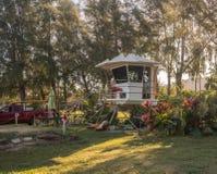 Lifeguard station on Hanalei Bay beach in Kauai royalty free stock photos