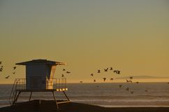 Lifeguard Station 16. Huntington Beach, Ca. in December 2013 Stock Photo