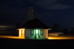 Lifeguard station. Illuminated lifeguard station at a beach at night stock photos
