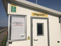 Lifeguard station, Leasowe, Wirral. Small white lifeguard station, Leasowe, Wirral Royalty Free Stock Photography
