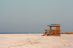 Lifeguard station on Lido Beach in winter. Lifeguard station on Lido Beach near Sarasota, Florida, against a blue sky in winter stock photo