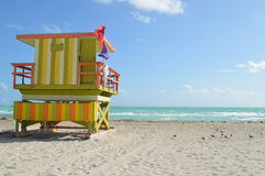 Lifeguard station on Miami beach Stock Photography