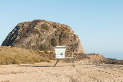 Lifeguard Station Near Mugu Rock on PCH in California. A lifeguard station near Mugu Rock on the Pacific Coast Highway at Mugu State Park in Malibu, California Stock Photography