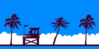 Free Lifeguard Station On A Beach With Palm On A Blue Sky. Vector Illustration With Tropical Landscape. Summer Card. Royalty Free Stock Image - 149660726