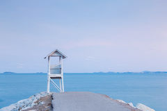 Lifeguard station over rocky road Royalty Free Stock Photos