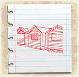 Lifeguard station on paper note, vector illustration Stock Photo