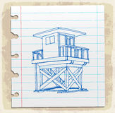 Lifeguard station on paper note, vector illustration Royalty Free Stock Photography