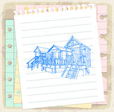 Lifeguard station on paper note, vector illustration Stock Photos