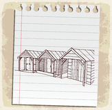 Lifeguard station on paper note, vector illustration Royalty Free Stock Image