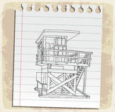 Lifeguard station  on paper note, vector illustration Stock Image