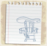 Lifeguard station  on paper note, vector illustration Royalty Free Stock Photo