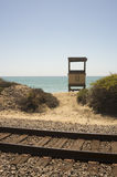 Lifeguard Station and Railroad Tracks in San Clemente Royalty Free Stock Photography