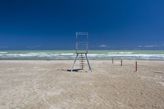 Lifeguard station on a sand beach. In the morning royalty free stock photos