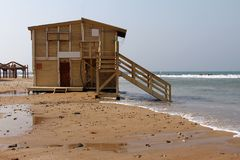 Lifeguard station  in winter Royalty Free Stock Photos